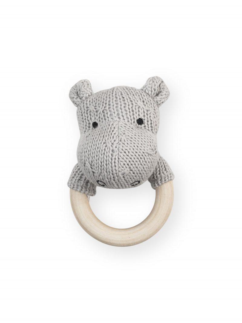 Jollein gehaakte rammelaar/bijtring hippo light grey