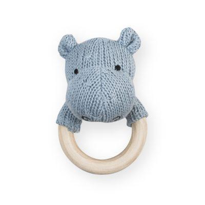 Jollein gehaakte rammelaar/bijtring hippo soft blue