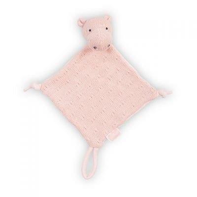Jollein gehaakt knuffeldoekje nijlpaard roze