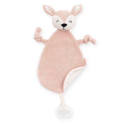 Jollein gehaakt speendoekje:knuffeldoekje hertje roze 2
